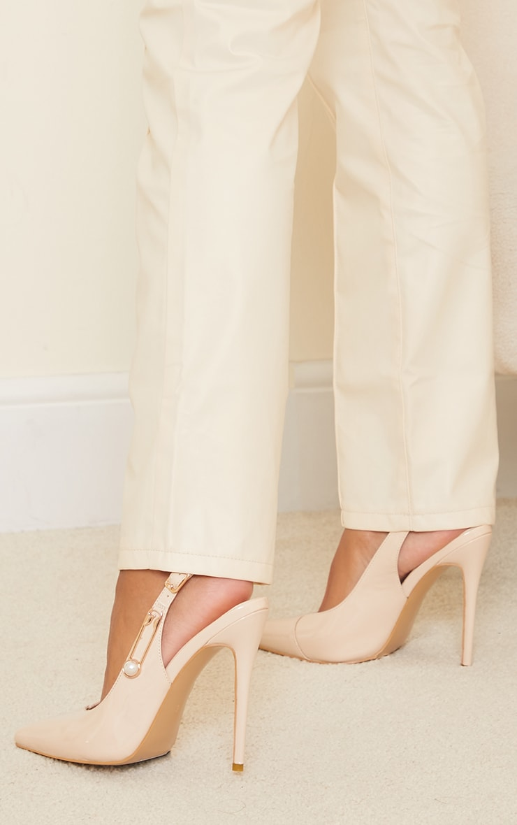 Nude Slingback Paperclip Trim Court Shoes 2