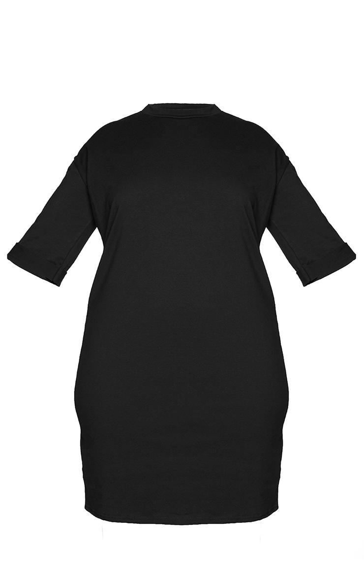 PLT Plus - Robe tee-shirt oversize style boyfriend noire à manches courtes 5