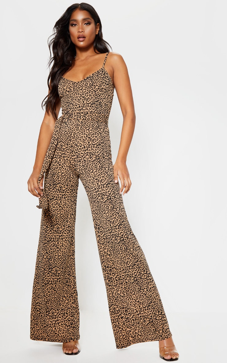 Tan Leopard Print Ring Belt Jumpsuit 1