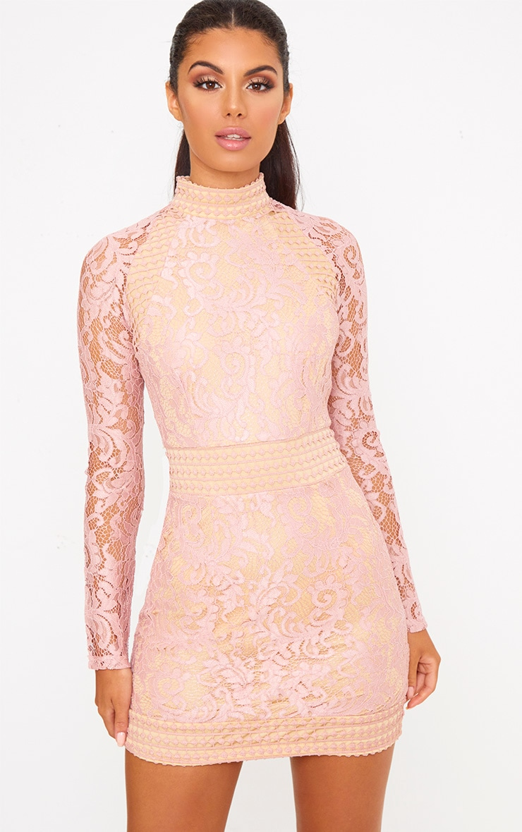 Dusty Pink Lace High Neck Bodycon Dress 1