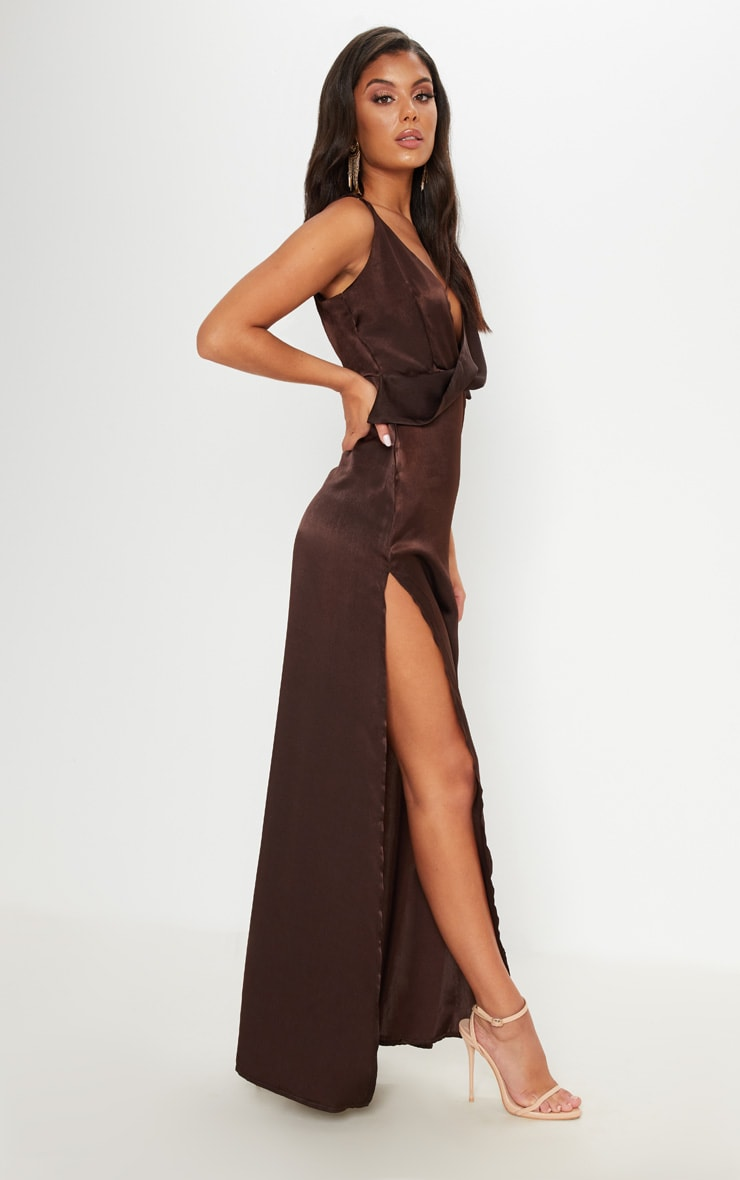 Lace and satin gown Chocolate Maxi dress