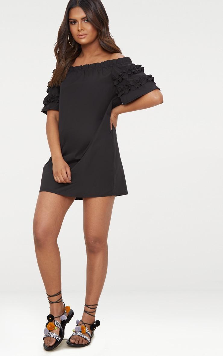 Petite Black Ruffle Sleeve Bardot Shift Dress 4