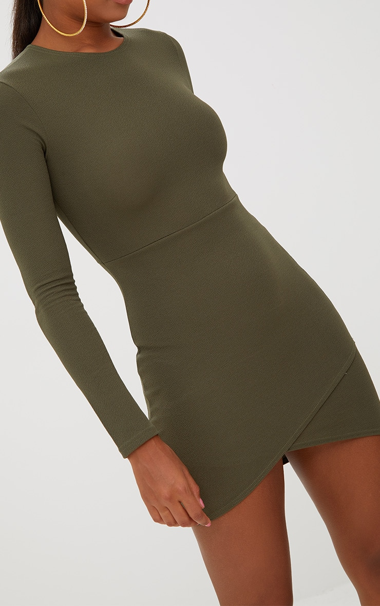 Khaki Long Sleeve Wrap Skirt Bodycon Dress 5