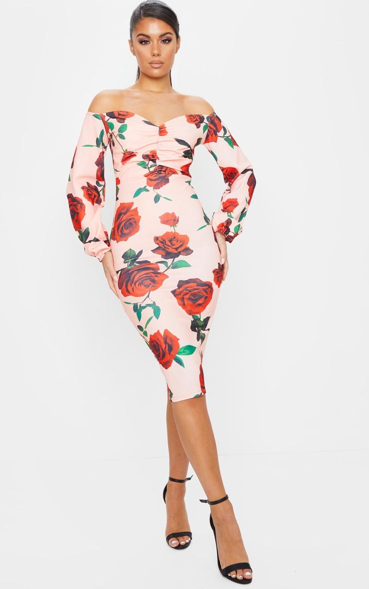 Peach Rose Print Ruched Bardot Midi Dress