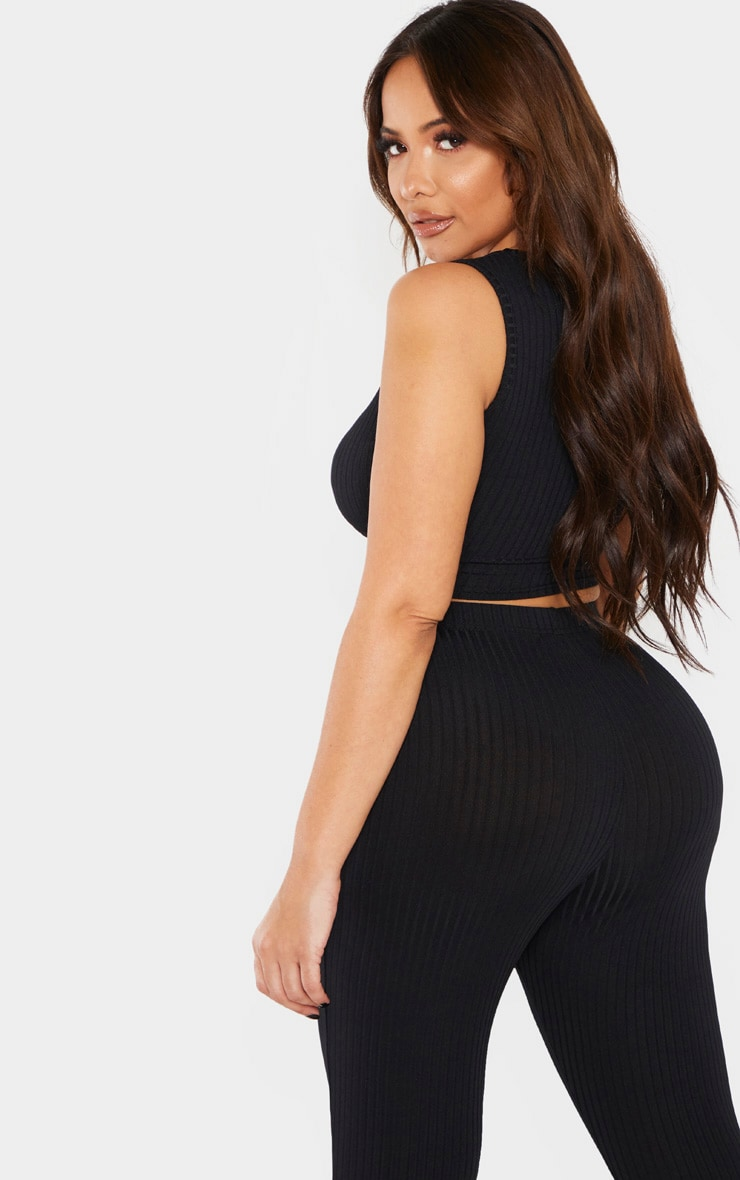 Shape Black Ribbed Buckle Waist Crop Top 2