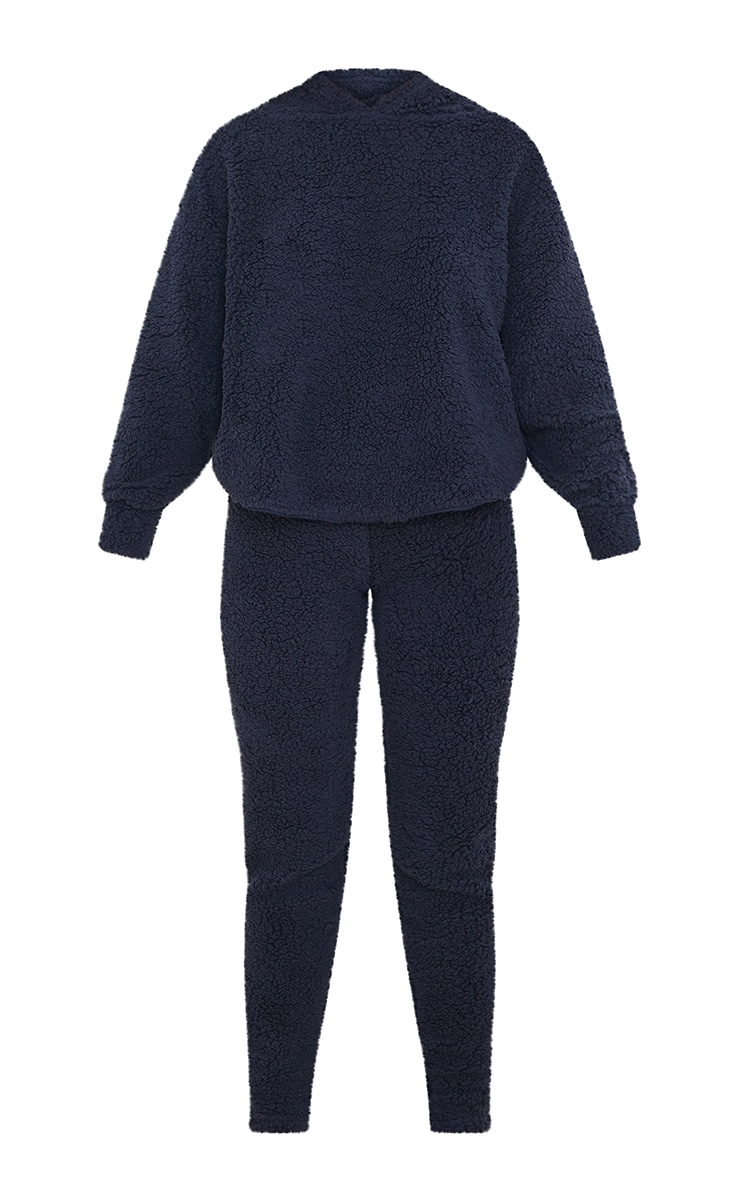 Navy Borg Teddy Ear Hoodie And Leggings PJ Set  5