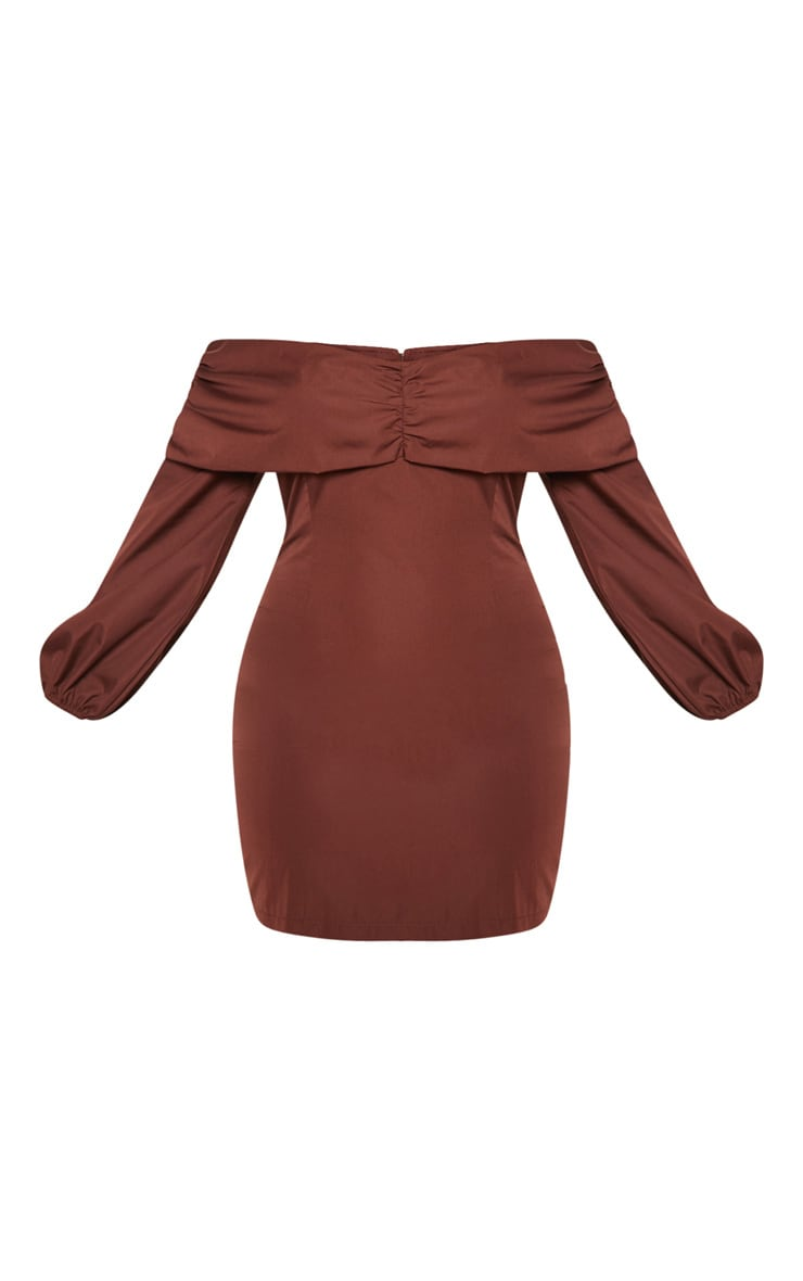 Chocolate Puff Sleeve Ruched Bardot Bodycon Dress 4