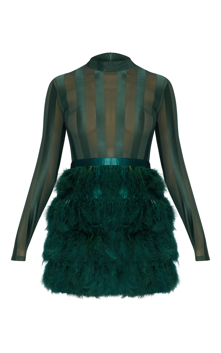 Emerald Green Feather Skirt Bodycon Dress 3