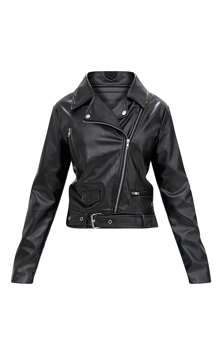 Polie Black PU Biker Jacket  4