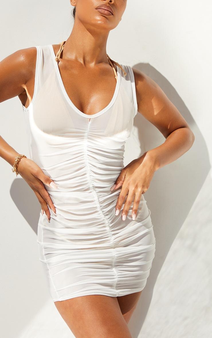 White V Neck Ruched Front Mesh Beach Dress 4