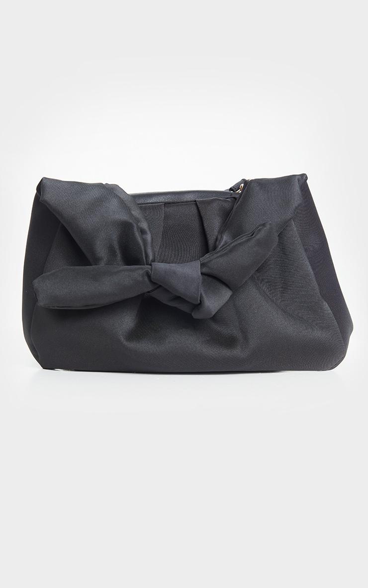 Black Satin Oversized Knot Grab Bag 3