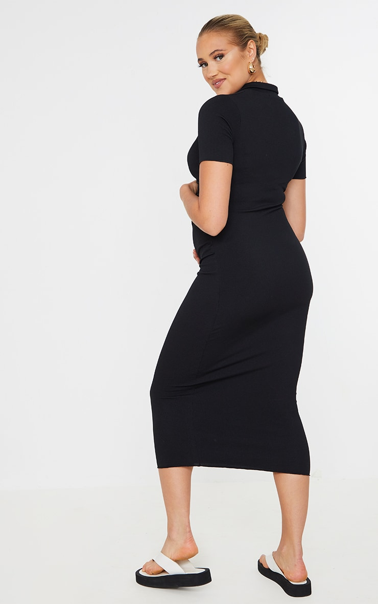 Maternity Black Ruched Side Polo Midi Dress 2