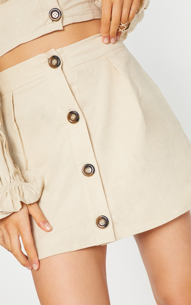 Stone Cotton Button Detail Mini Skirt 6