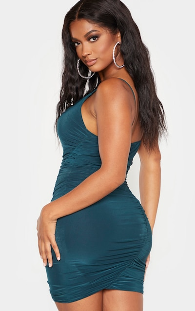 Shape Emerald Green Slinky Ruched Asymmetric Bodycon Dress