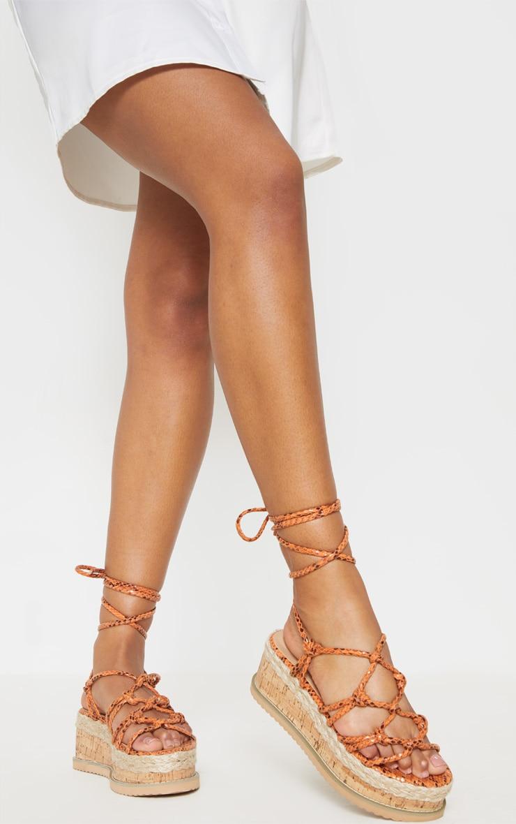 Orange Snake Knot Detail Flatform Espadrille Sandal 2