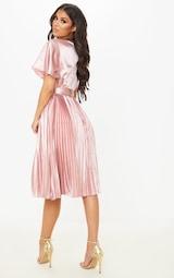 Mairee Dusty Pink Satin Pleated Midi Dress 2