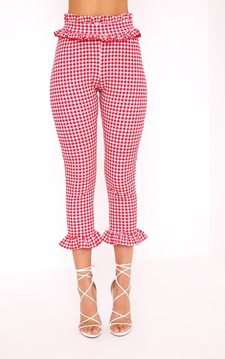 Keren Red Gingham Frill Trim Trousers 2