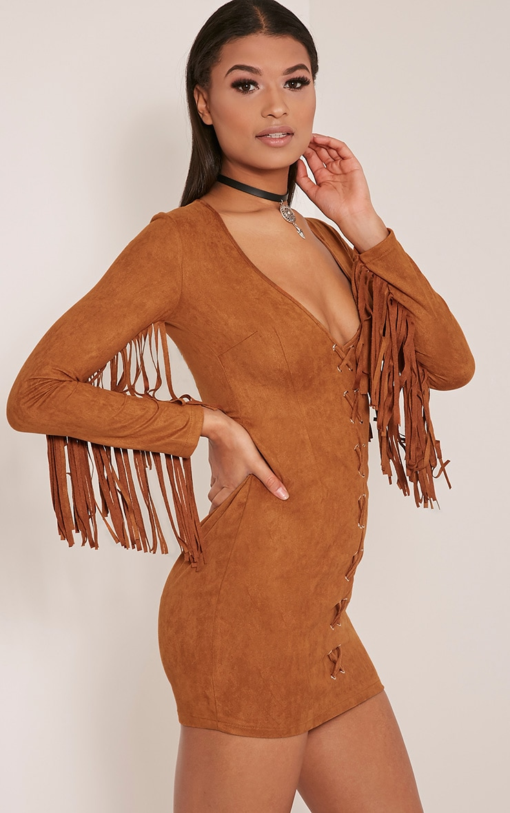 Cherri Tan Suede Lace Up Fringe Bodycon Dress 6