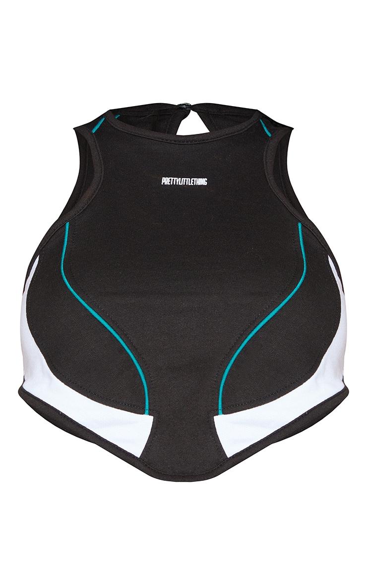 PRETTYLITTLETHING Shape Black Sweat Racer Neck Panel Detail Crop Top 5