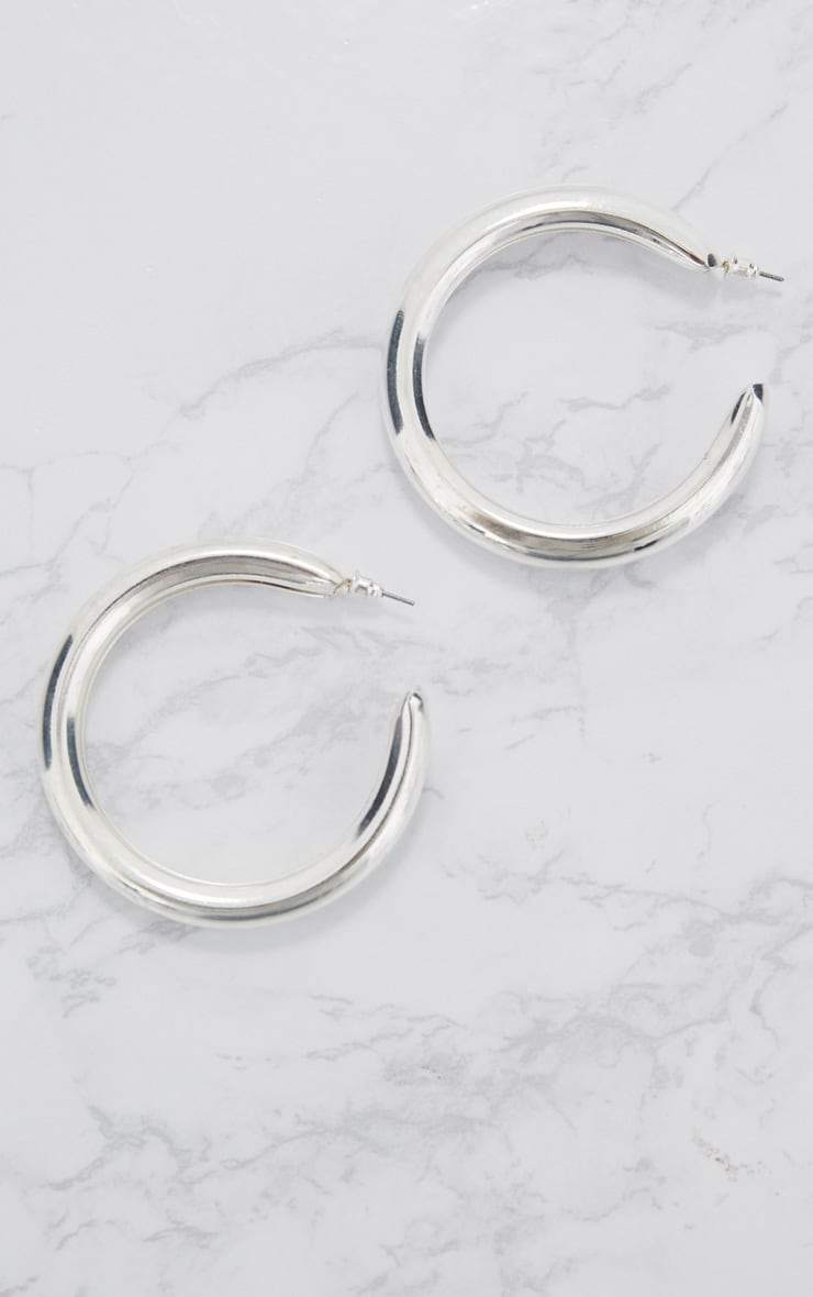 Silver Large Thick Hoops 3