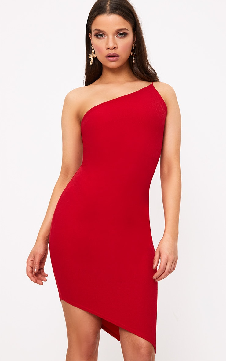Red Asymmetric One Shoulder Bodycon Dress 1
