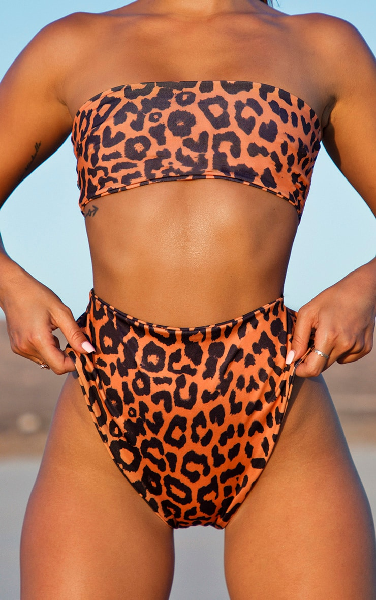 Orange Cheetah Print High Waisted High Leg Bikini Bottom 5