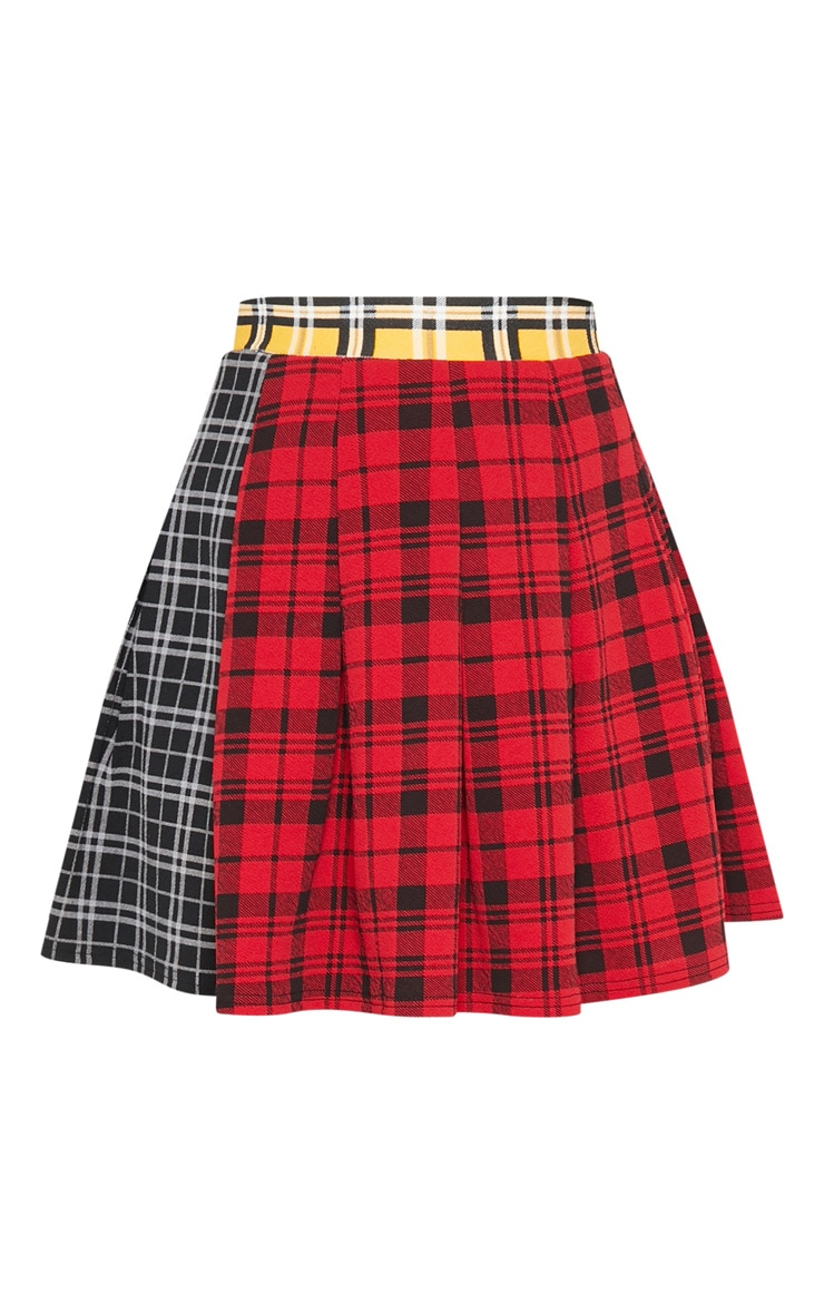 Black Mix Check Print Side Split Tennis Skirt 3