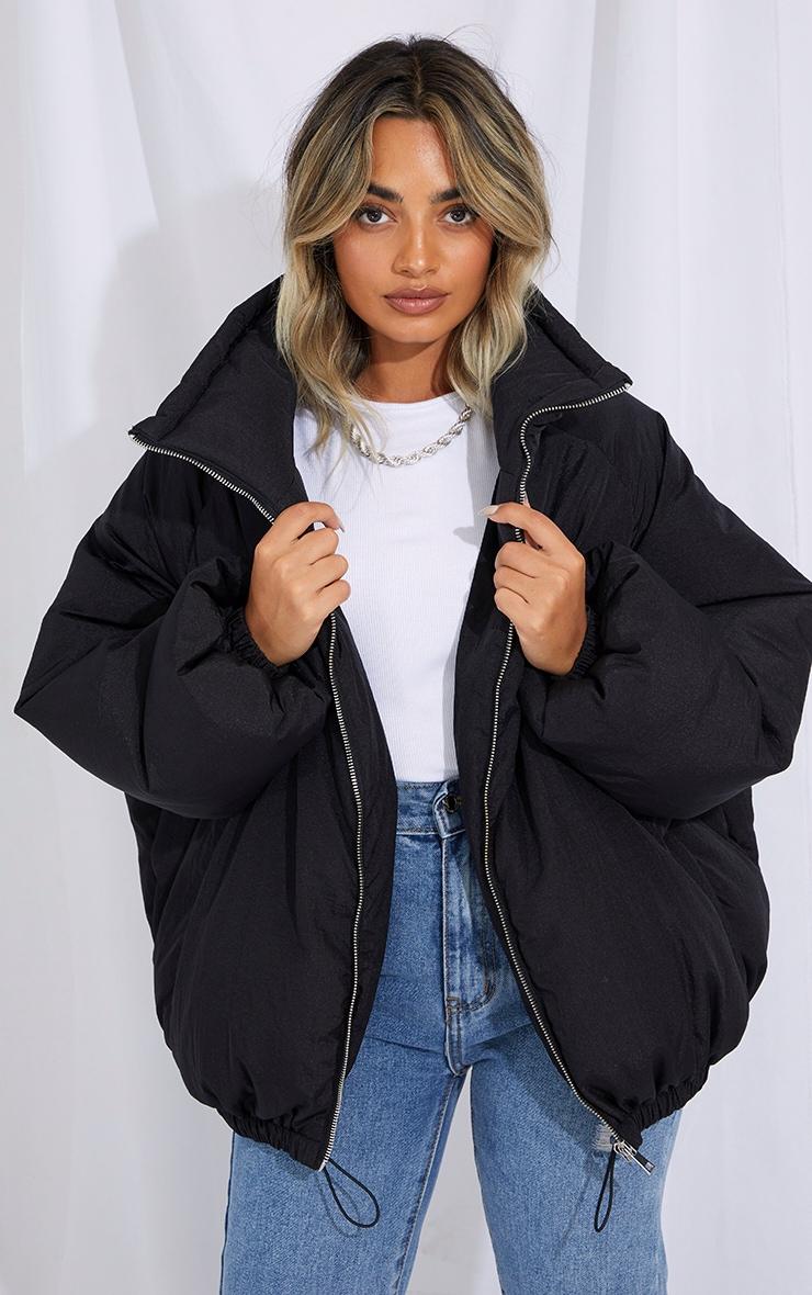 Petite Black Extreme Oversized Puffer Jacket 1