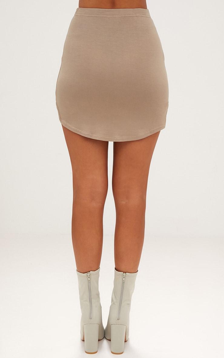 Taupe Double Side Split Mini Skirt  3