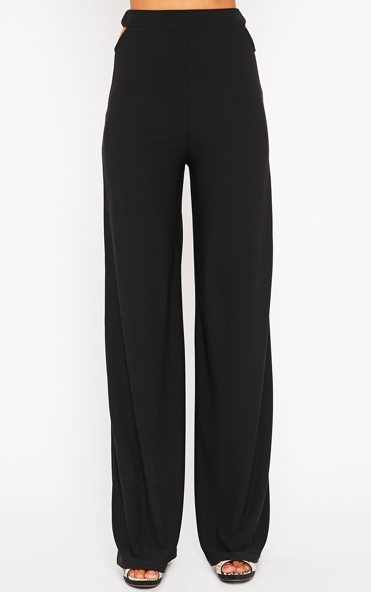 Elphina Black Cut Out Palazzo Trousers 2