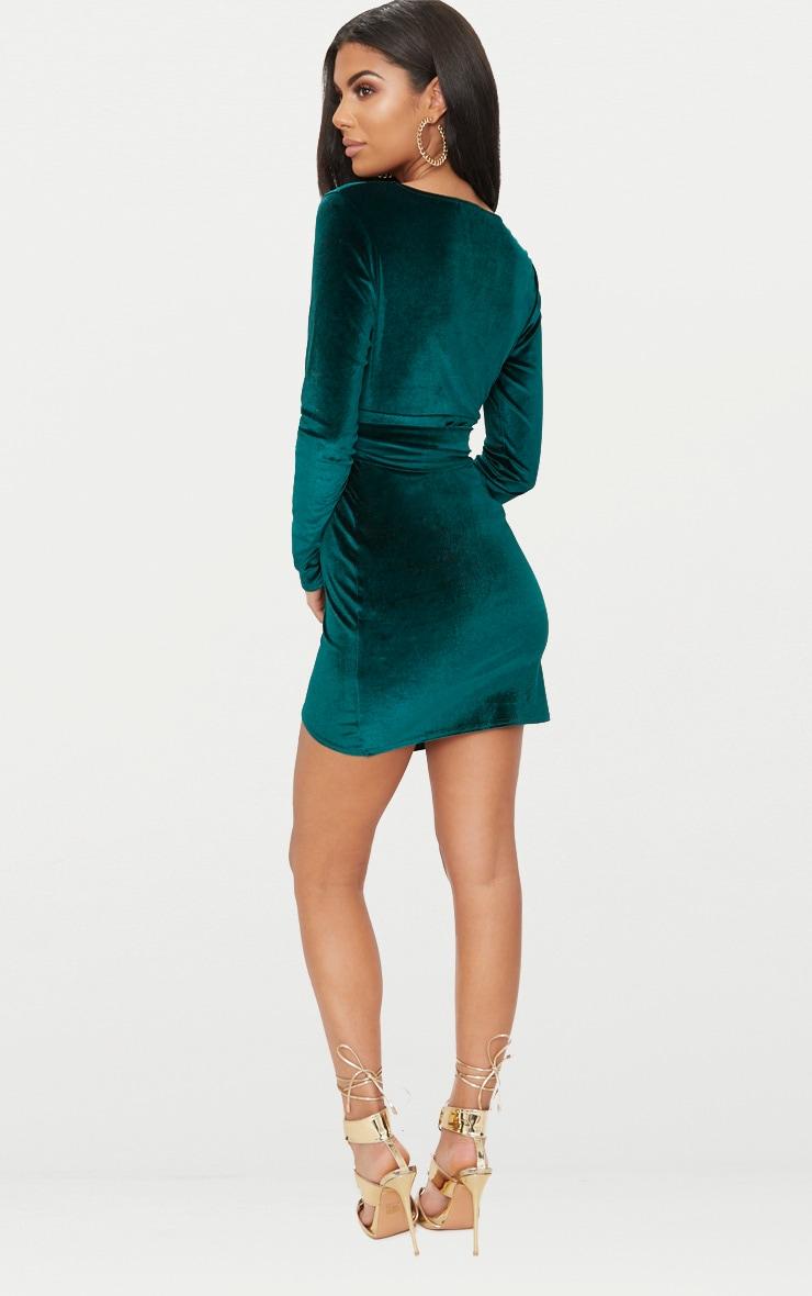 Emerald Green Plunge Wrap Detail Long Sleeve Mini Dress 2