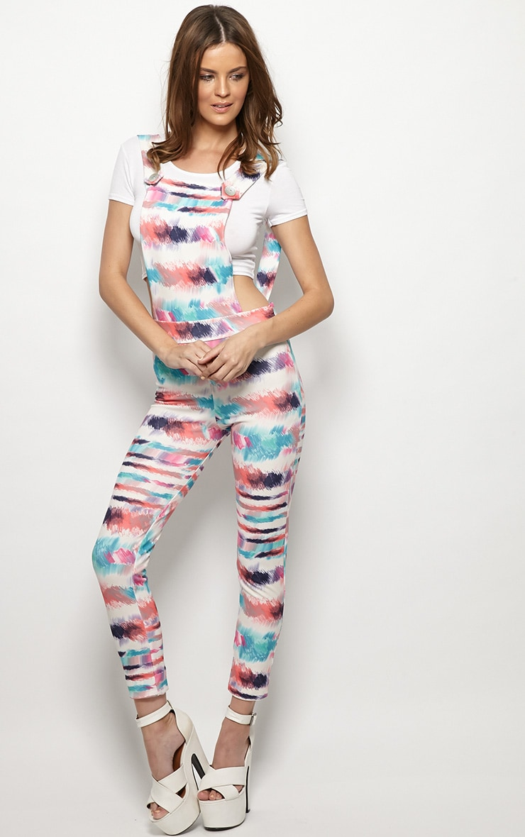 Avril Multi Print Dungaree Jumpsuit 4