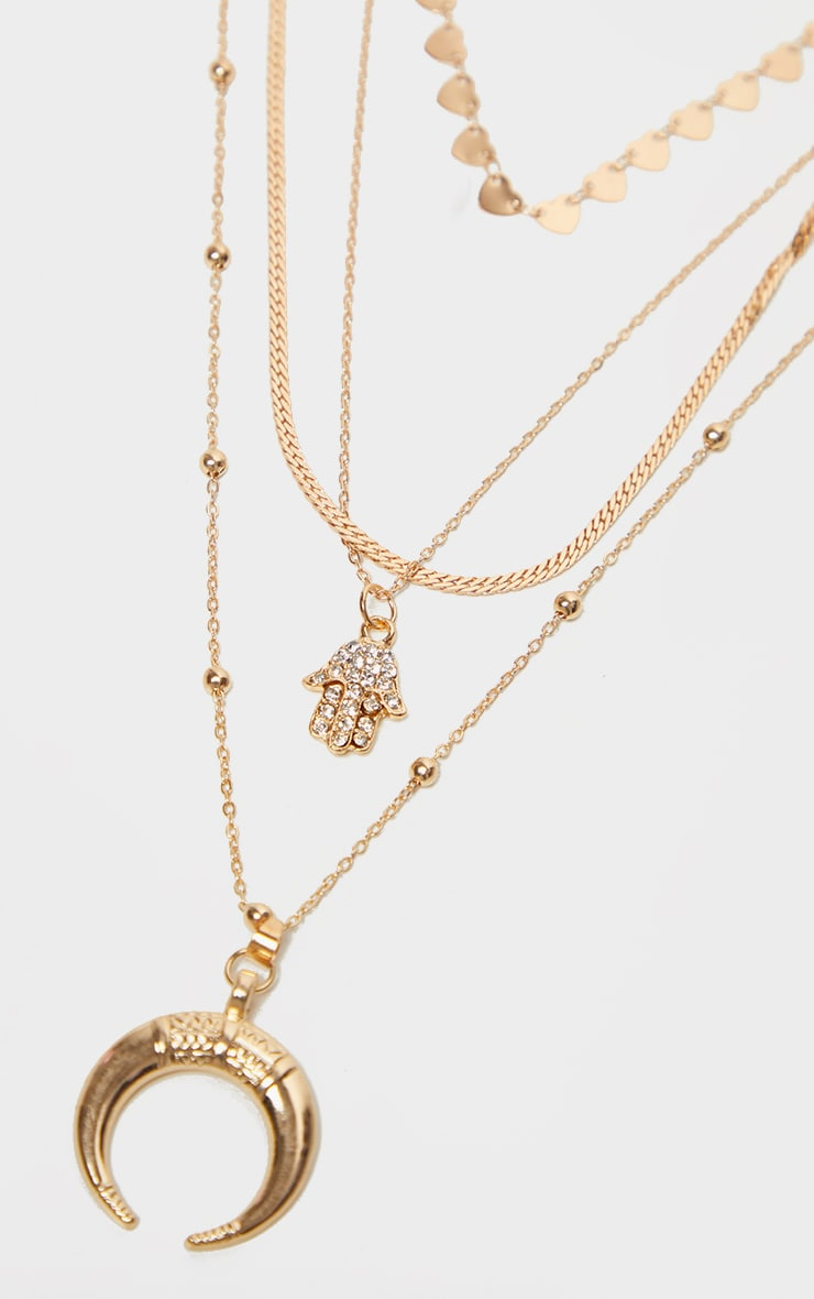 Gold Bull Horn And Hamsa Hand Charm Layering Necklace 4