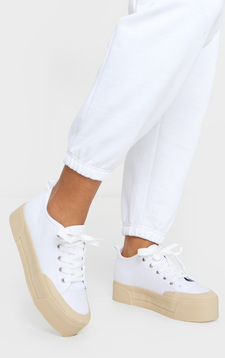 White Flatform Lace Up Canvas Sneakers 2