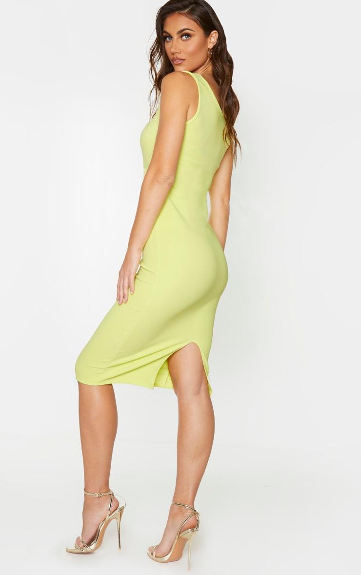 Soft Lime Bandage Rib Seam Detail Plunge Midi Dress 2