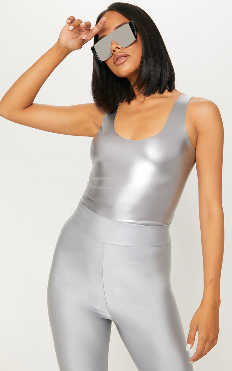 Silver Vinyl Scoop Neck Bodysuit