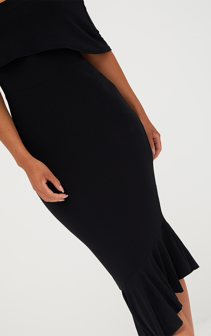 Black Asymmetric Bardot Frill Detail Midi Dress 5