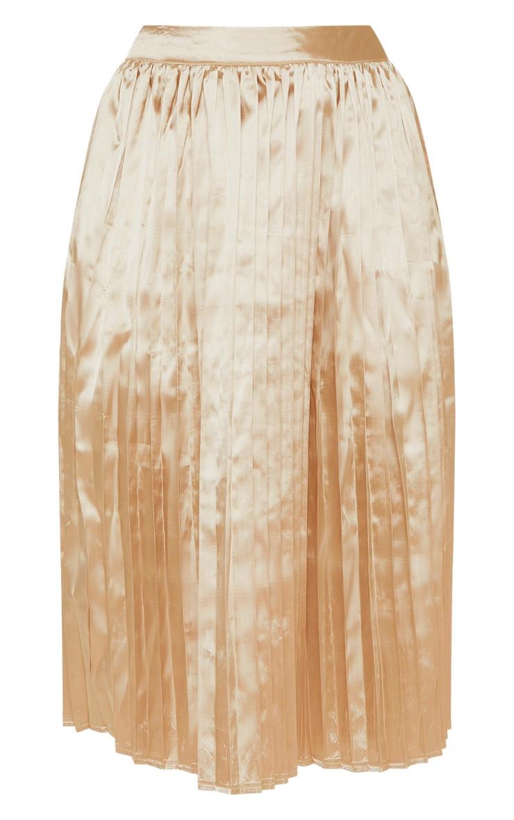 Champagne Satin Pleated Midi Skirt 3