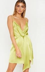 Lime Strappy Satin Plunge Drape Shift Dress image 4 0f3f27591