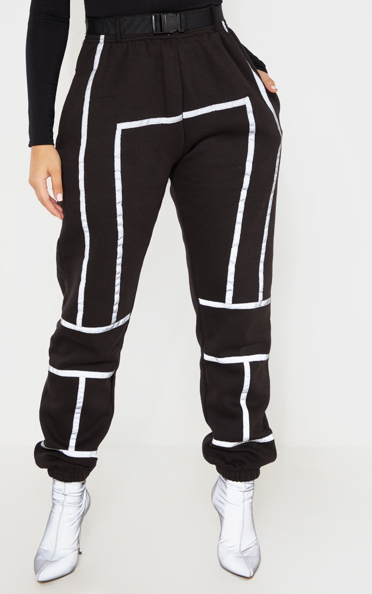 Black Belted Reflective Tape Cuffed Jogger 2