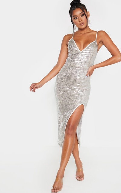 Silver Sequin Split Midi Dress