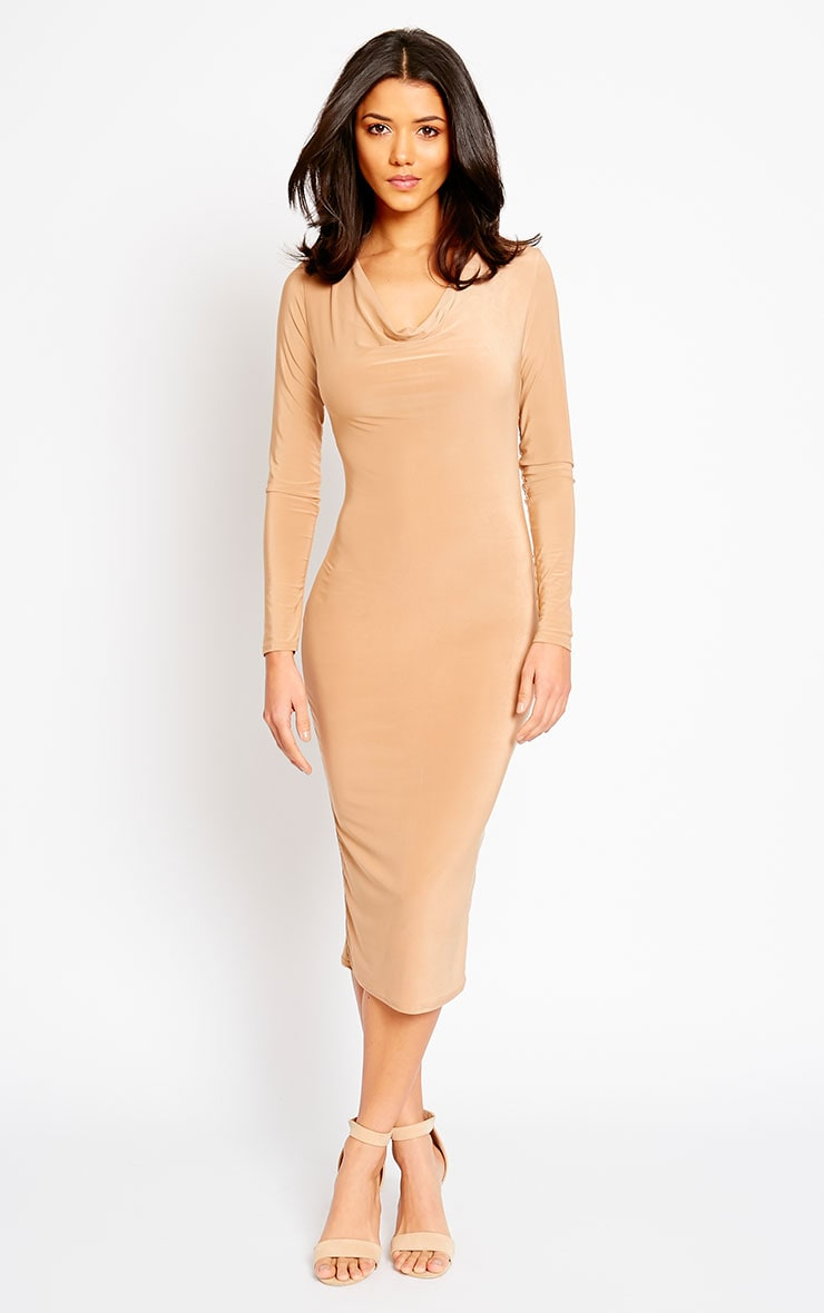 Ziva Camel Slinky Cowl Neck Midi Dress 3