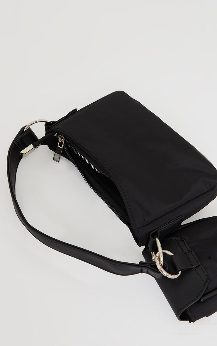 Black Nylon Mini Pocket Shoulder Bag 3