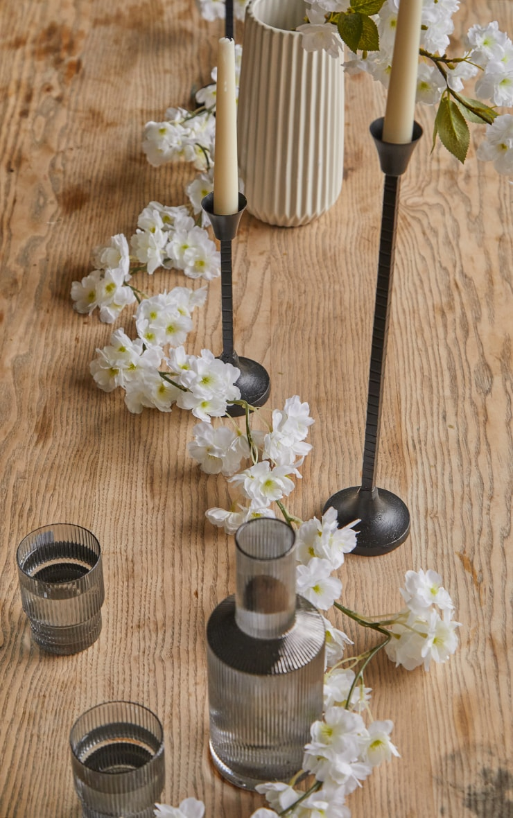 White Oriental Blossom Spray Artificial Flower image 1