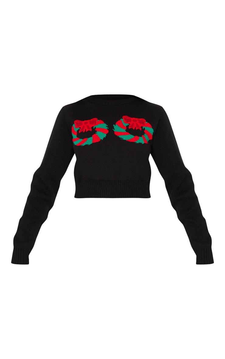 Black Wreath Crop Christmas Jumper 3