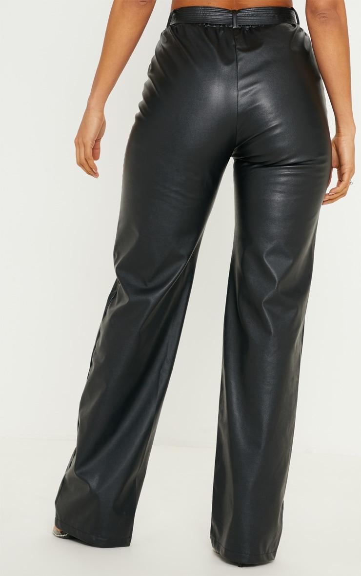 Black Faux Leather Tie Waist Wide Leg Pants 4