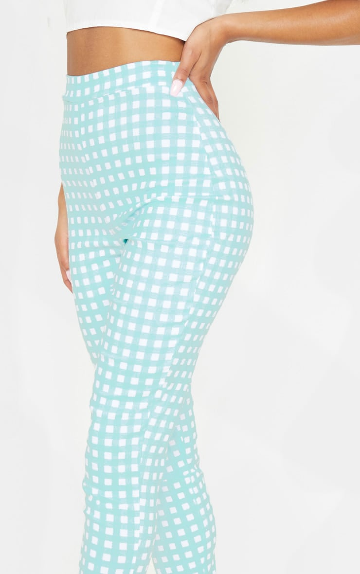 Mint Gingham High Waisted Woven Stretch Legging 5