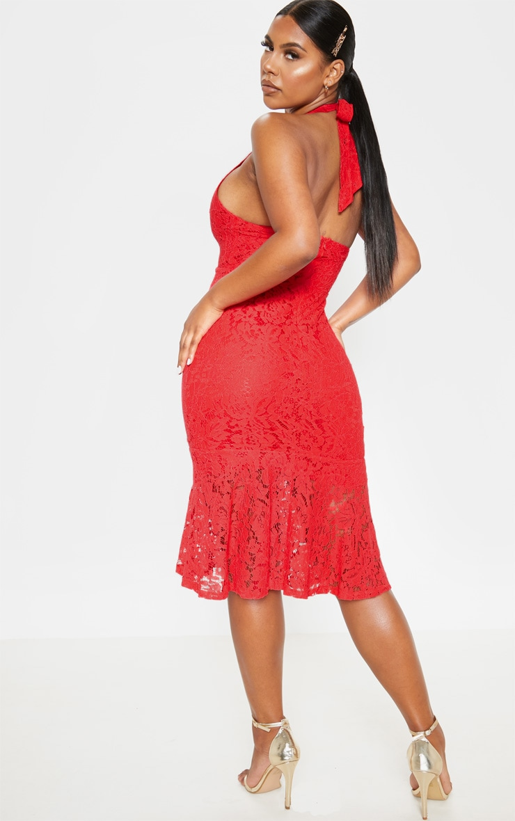 Red Lace Halter Midi Dress 2