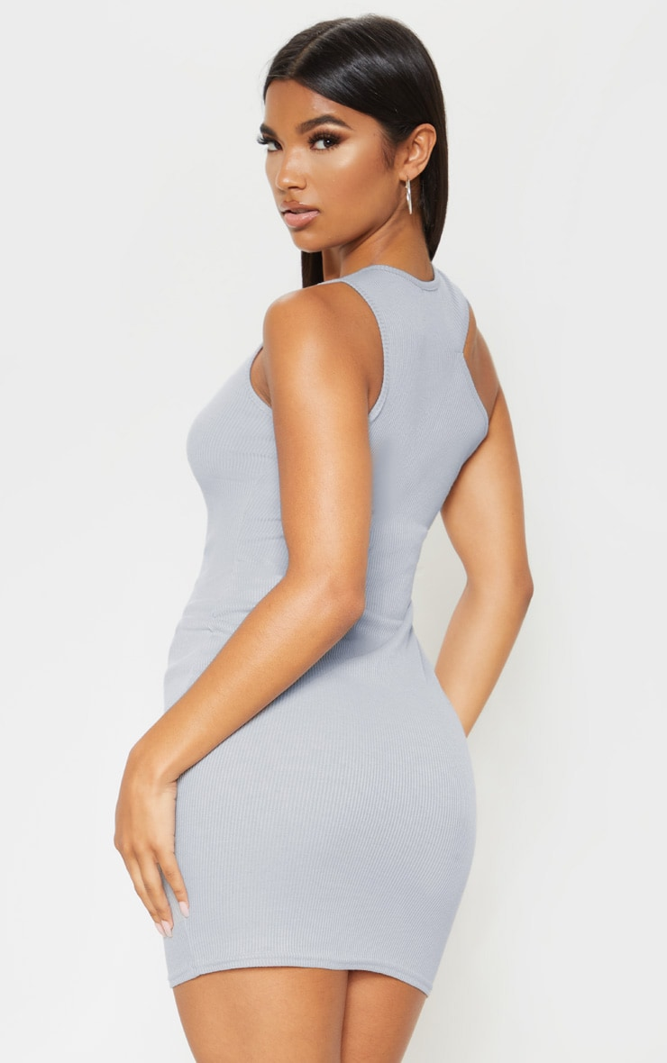 Grey Ribbed Cut Out Neck Detail Bodycon Dress 2