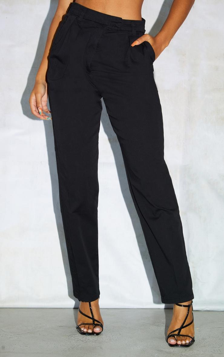 Black Twill Placket Darted Straight Leg Pants 2